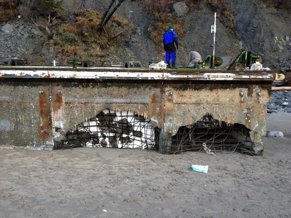 On Jan. 3, 2013, the dock appeared to be losing Styrofoam, a potential hazard to marine life.