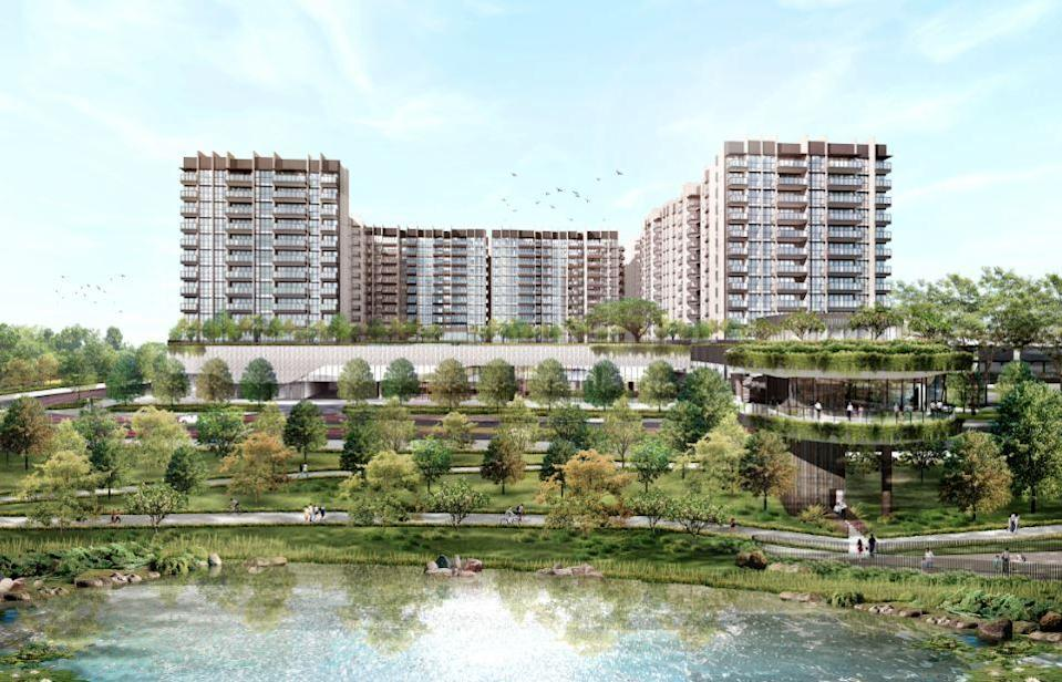 Artist's impression of The Woodleigh Residences and The Woodleigh Mall
