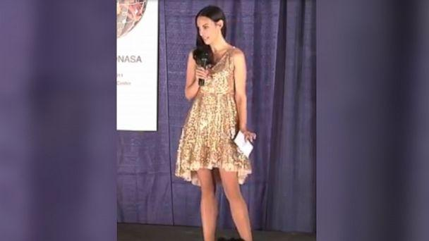 PHOTO: Rita King delivers a speech in a sequin dress at a TEDxYOUTH@NASA event in November 2011. (Rita King/@RitaJKing)