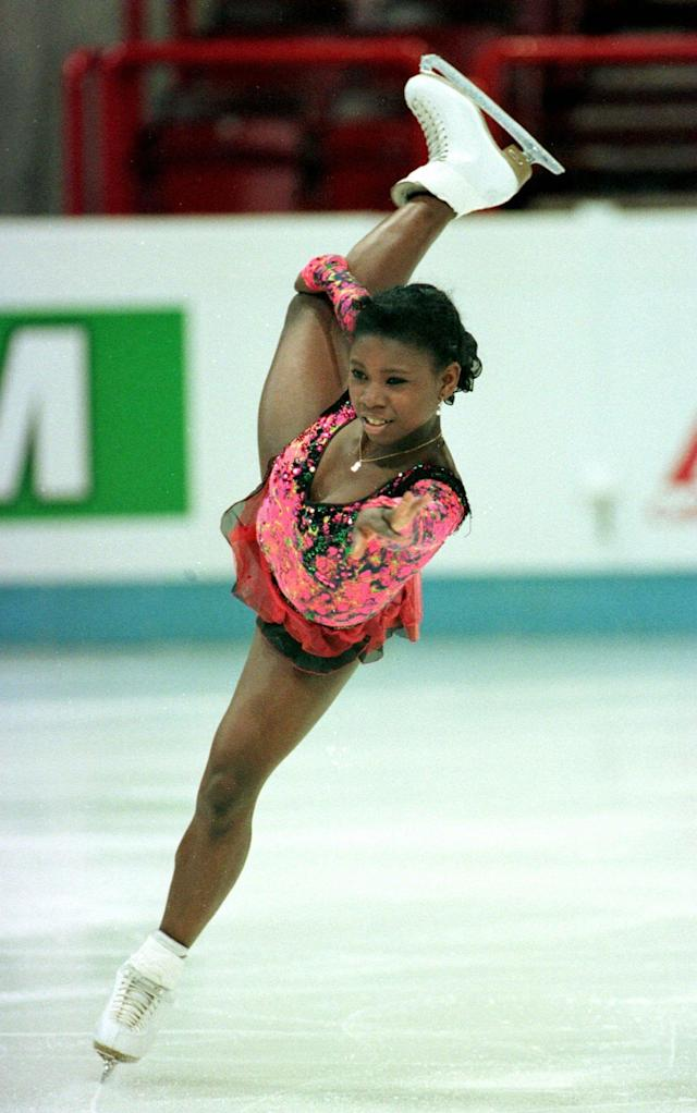 <p>French skater Surya Bonaly became the first woman to land a quad jump in a major competition at the European Championships. She also attempted a quad salchow, but fell. </p>