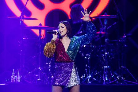FILE PHOTO - Dua Lipa performs during Z100's iHeartRadio Jingle Ball 2018 concert at Madison Square Garden in New York City, New York, U.S., December 7, 2018. REUTERS/Eduardo Munoz