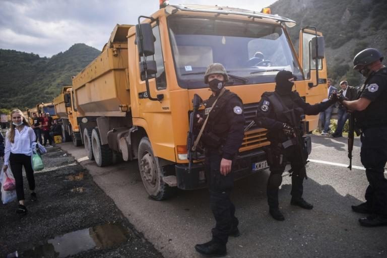 Ethnic Serb protesters have blocked roads leading to the border crossing with Serbia to protest Kosovo's new rules on cross-border licence plates (AFP/Armend NIMANI)