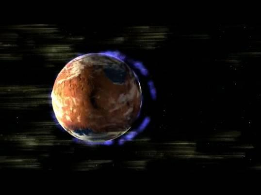 Artist's concept: Disappearance of the ancient magnetic field may have triggered the loss of the Martian atmosphere.