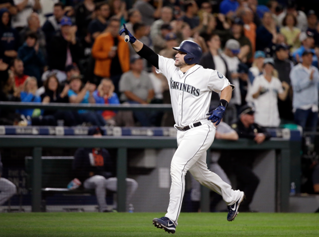 "<a class=""link rapid-noclick-resp"" href=""/mlb/players/9322/"" data-ylk=""slk:Mike Zunino"">Mike Zunino</a> works on his home-run trot (AP)"