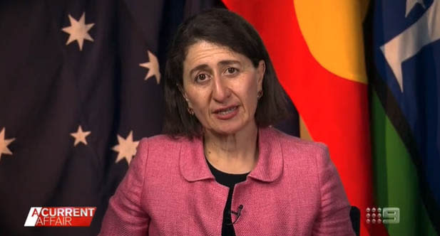 A screenshot of Gladys Berejklian on A Current Affair as she is forced to defend her government's handling of the worsening Covid-19 outbreak in NSW. Source: A Current Affair