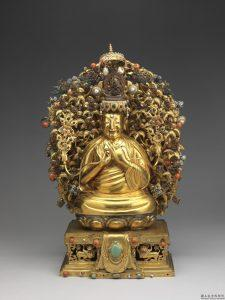 清 金宗喀巴像 (正面) | Gold Tsongkhapa, Cast by Qing court in 1782, following Tibetan prototypes, Qing dynasty (Courtesy of NPM)