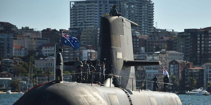 The Royal Australian Navy's HMAS Waller (SSG 75), a Collins-class diesel-electric submarine, is seen in Sydney Harbour on November 2, 2016.