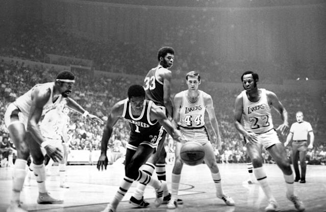 <p>At 32, Oscar Robertson was near the end of his basketball prime. At 24, Lew Alcindor was just beginning his reign atop the league. Together, the two Hall of Famers were unstoppable for one glorious season. The Bucks won 20 straight games and dominated the playoffs, winning their postseason games by an average of 14.5 points and sweeping the Baltimore Bullets in the Finals. Alcindor earned the first of his six MVP awards and changed his name to Kareem Abdul-Jabbar the day after Milwaukee captured the title. </p>