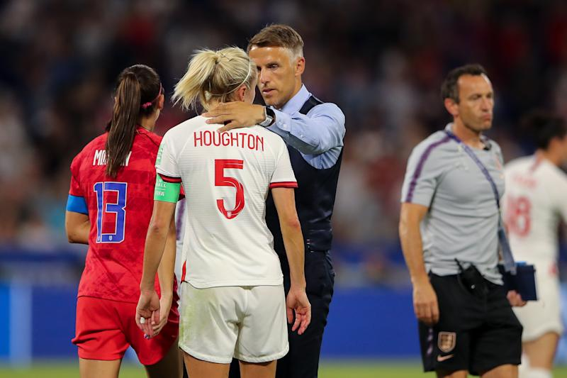 LYON, FRANCE - JULY 02: Steph Houghton of England and Phil Neville the head coach / manager of England react at full time during the 2019 FIFA Women's World Cup France Semi Final match between England and United States of America at Stade de Lyon on July 2, 2019 in Lyon, France. (Photo by Molly Darlington - AMA/Getty Images)