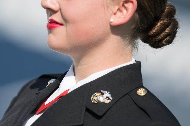 A US Marine Corp cadet attends the United States Naval Academy graduation ceremony in Annapolis, Maryland, on May 25, 2018. (Photo: JIM WATSON/AFP/Getty Images)