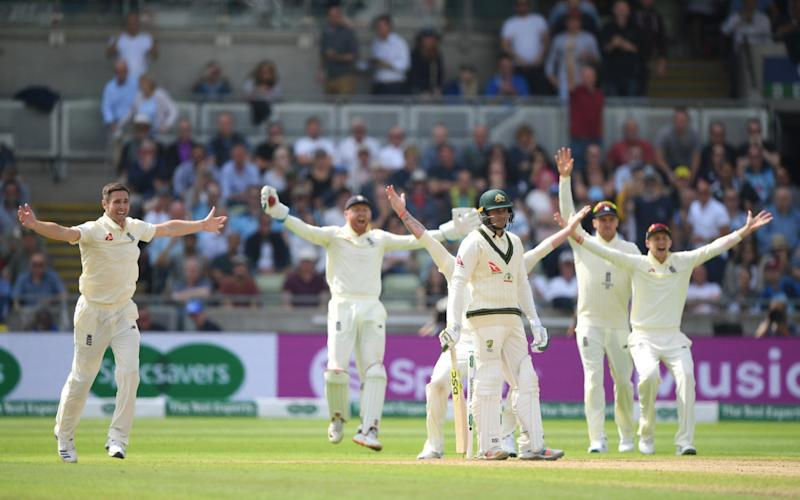 England bowler Chris Woakes appeals for the wicket of Usman Khawaja which is given out after review during day one of the First Specsavers Ashes Test Match between England and Australia at Edgbaston on August 01, 2019 in Birmingham, England - Getty Images Europe