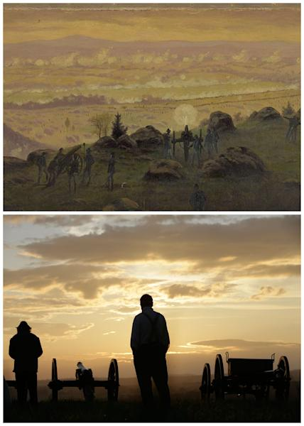 This combination image shows, top, a painting by Edwin Forbes of the view from the summit of Little Round Top, July 3, 1863, in Gettysburg, Pa., and bottom, two re-enactors viewing the sunrise during ongoing activities commemorating the 150th anniversary of the Battle of Gettysburg, Friday, June 28, 2013, at Bushey Farm in Gettysburg, Pa. Wearing period uniforms, thousands of Civil War buffs gathered Friday on a private farm outside the actual battlefield to take part in the battle re-enactment considered the pinnacle of the hobby. (AP Photo)
