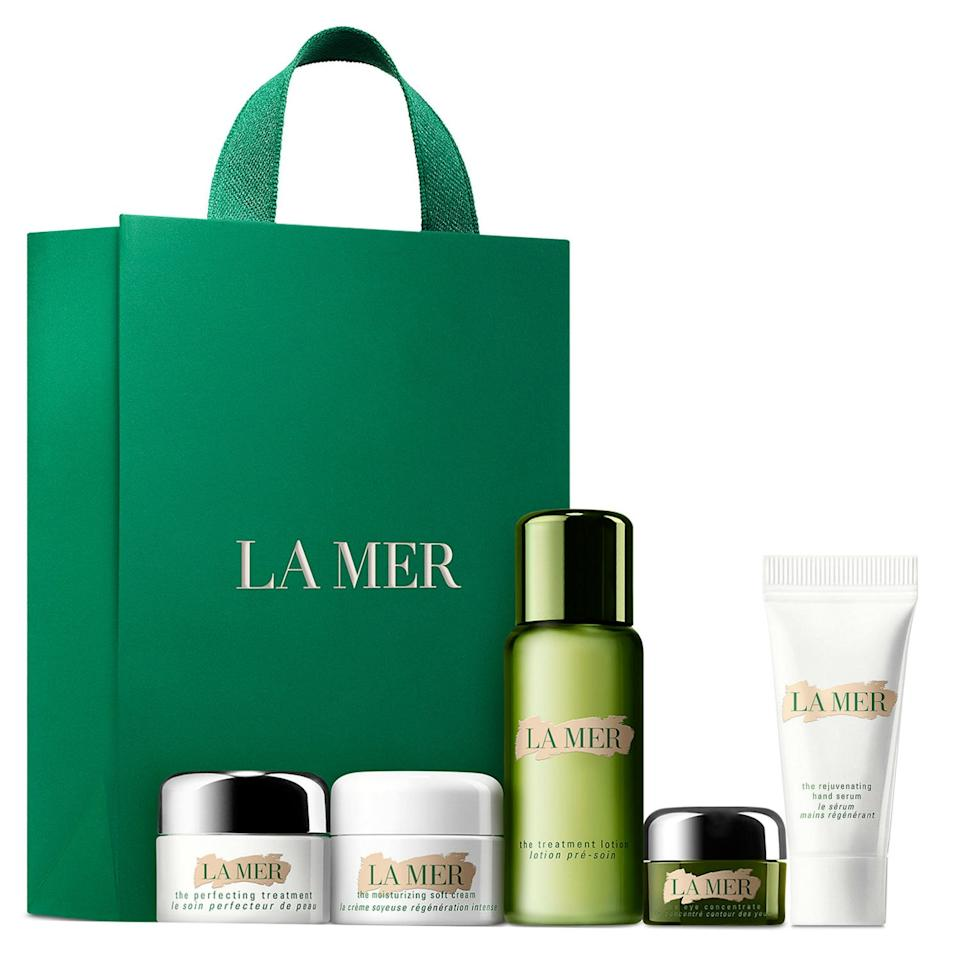"""If you're thinking of splashing out on La Mer, you might as well go big and do it when you can get this five-piece skin-care set for free. You'll get minis of The Perfecting Treatment, The Moisturizing Soft Cream, The Treatment Lotion, The Eye Concentrate, and The Rejuvenating Hand Serum with your $375 La Mer online purchase. We suggest combining it with the brand's <a href=""""https://click.linksynergy.com/deeplink?id=3r4YdkDiq/o&mid=1237&u1=GWP1&murl=https%3A%2F%2Fshop.nordstrom.com%2Fs%2Fla-mer-the-soothing-collection-475-value%2F5270666%3Forigin%3Dkeywordsearch-personalizedsort%26breadcrumb%3DHome%2FAll%2520Results%26color%3Dnone"""">Soothing Collection</a>, $360, so you can really La-Mer out your skin care—and get a handy double of the Eye Concentrate plus another moisturizing cream for your carry-on—and finish the purchase with La Mer's $30 <a href=""""https://click.linksynergy.com/deeplink?id=3r4YdkDiq/o&mid=1237&u1=GWP2&murl=https%3A%2F%2Fshop.nordstrom.com%2Fs%2Fla-mer-the-treatment-lotion-hydrating-mask%2F5025794%3Forigin%3Dcategory-personalizedsort%26breadcrumb%3DHome%2FBrands%2FLa%2520Mer%26color%3Dnone"""">Treatment Lotion Hydrating Mask</a>, which includes almost a full ounce of The Treatment Location in each application, for after a particularly stressful day. (If you want a little variety in your purchase, the <a href=""""https://click.linksynergy.com/deeplink?id=3r4YdkDiq/o&mid=1237&u1=GWP3&murl=https%3A%2F%2Fshop.nordstrom.com%2Fs%2Fla-mer-mini-miracles-set-122-value%2F5270665%3Forigin%3Dkeywordsearch-personalizedsort%26breadcrumb%3DHome%2FAll%2520Results%26color%3Dnone"""">Mini Miracles set</a> has the brand's three best-selling products for $90, so you can sneak something else into your order.)"""