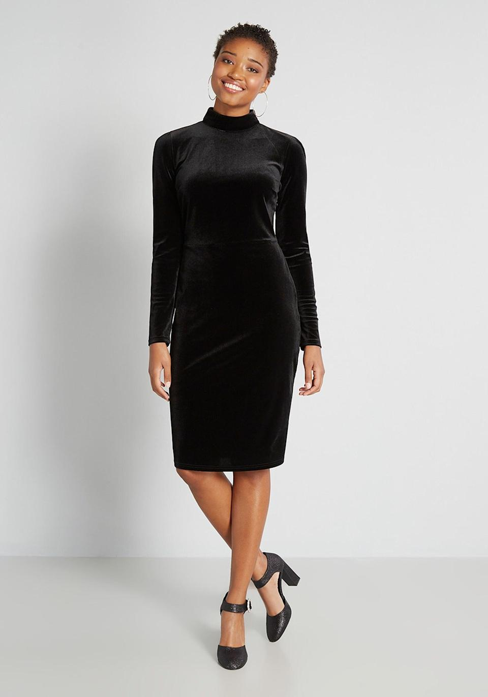 <p>Stay cozy yet sophisticated with the <span>Only The Lonely Mock Neck Dress</span> ($119). </p>