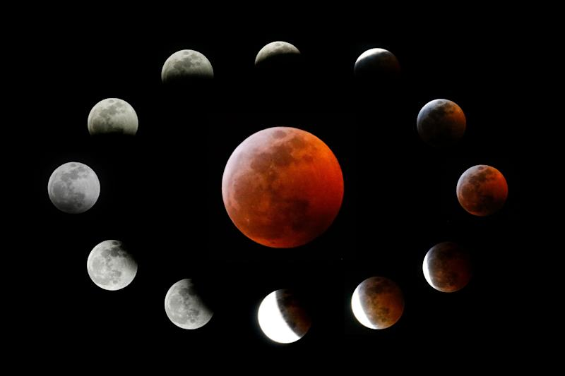 This combination photo shows the totally eclipsed moon (center) and other stages during the lunar eclipse, as seen from Los Angeles, Jan. 20.