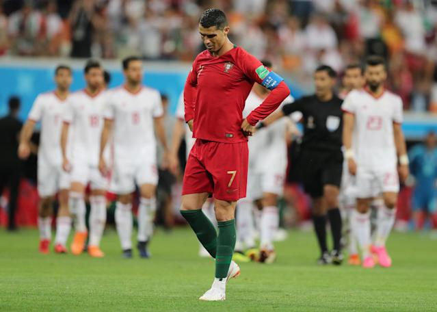 Soccer Football - World Cup - Group B - Iran vs Portugal - Mordovia Arena, Saransk, Russia - June 25, 2018 Portugal's Cristiano Ronaldo before taking a penalty REUTERS/Ivan Alvarado