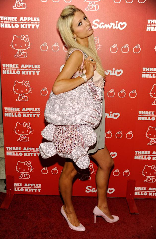 "Not only is Paris Hilton's Hello Kitty handbag hideous, it's gotta weigh a ton! Frazer Harrison/<a href=""http://www.gettyimages.com/"" target=""new"">GettyImages.com</a> - October 22, 2009"