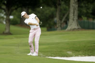 Justin Thomas hits from the rough on the 16th hole during the final round of the World Golf Championship-FedEx St. Jude Invitational Sunday, Aug. 2, 2020, in Memphis, Tenn. (AP Photo/Mark Humphrey)