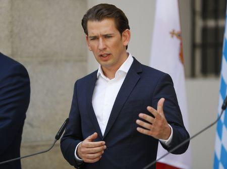 Austria's Chancellor Kurz addresses a news conference after a joint Austrian and Bavarian cabinet meeting in Linz