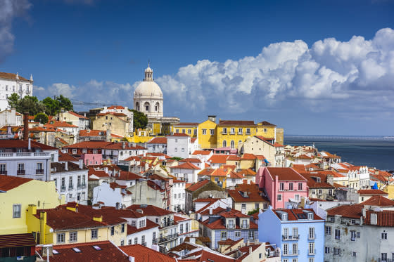 Lisbon, Portugal skyline at Alfama, the oldest district of the city.