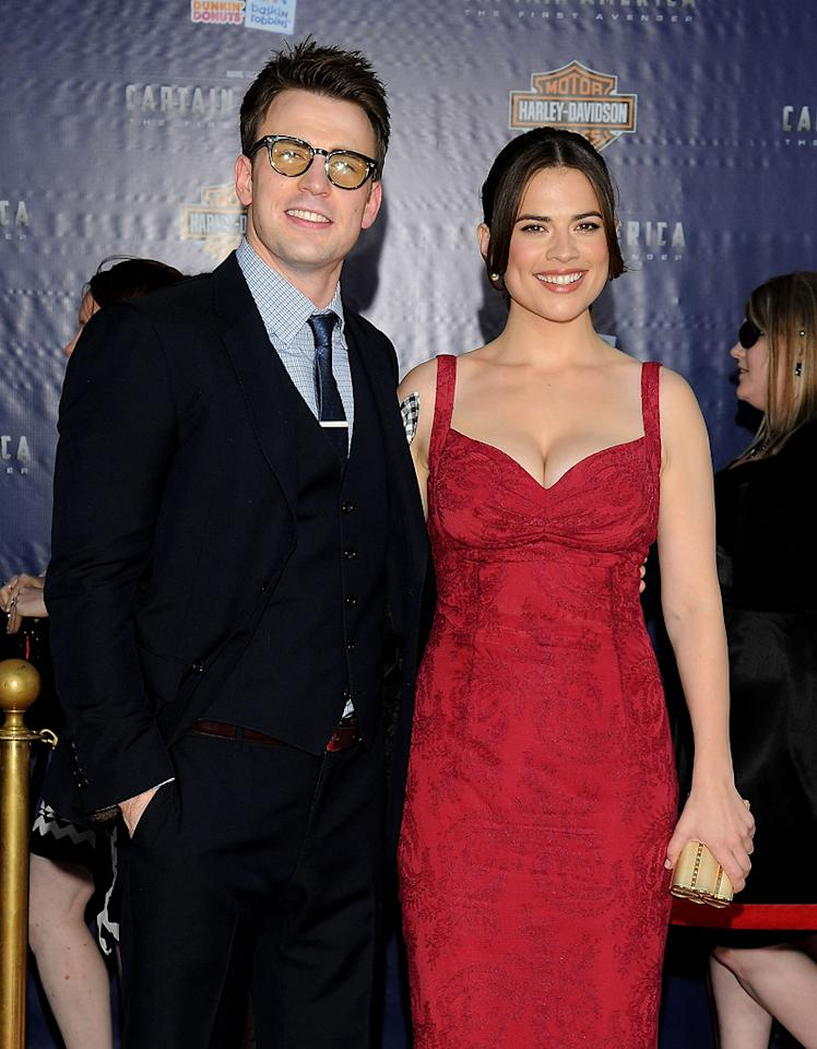 "<a href=""http://movies.yahoo.com/movie/contributor/1803006988"">Chris Evans</a> and <a href=""http://movies.yahoo.com/movie/contributor/1809735942"">Hayley Atwell</a> at the Los Angeles premiere of <a href=""http://movies.yahoo.com/movie/1810026349/info"">Captain America: The First Avenger</a> on July 19, 2011."