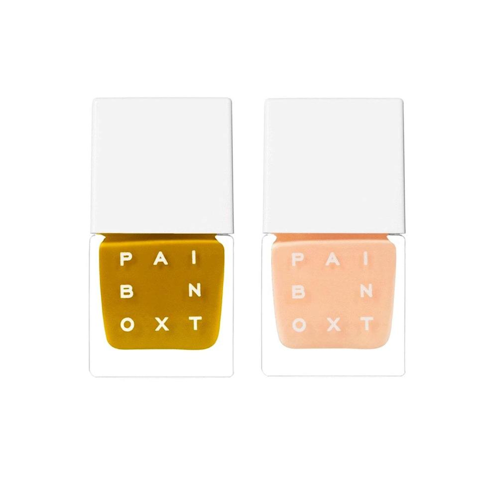 """My favorite nail polish releases are always the Paintbox Power Couples. They're so fresh and modern (but simultaneously retro), and truly complementary if you're thinking about doing any kind of nail art. When this peach and golden green duo came out, it was a no-brainer to add to cart. Paintbox says it's """"inspired by Palm Springs in the '70s"""" which is exactly where I wish I was right now. <em>—S.S.</em> $40, Paintbox. <a href=""""https://paint-box.com/products/power-couple-like-lush-like-flora-power-couples"""" rel=""""nofollow noopener"""" target=""""_blank"""" data-ylk=""""slk:Get it now!"""" class=""""link rapid-noclick-resp"""">Get it now!</a>"""