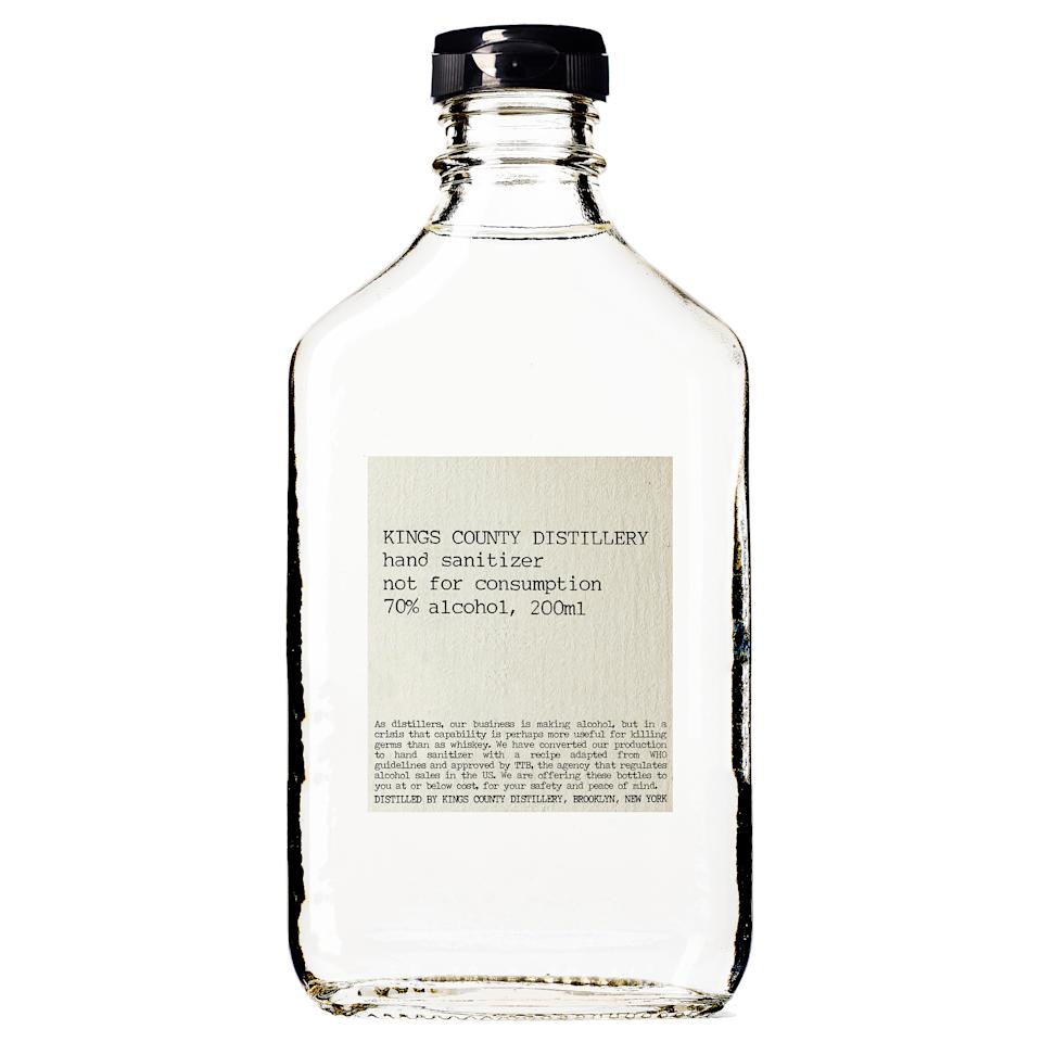 "Hand sanitizer made by Kings County Distillery—which usually makes whiskey—in Brooklyn, N.Y. The New-York Historical Society has collected hand sanitizer made by distilleries that converted their operations.<span class=""copyright"">Courtesy Kings County Distillery</span>"