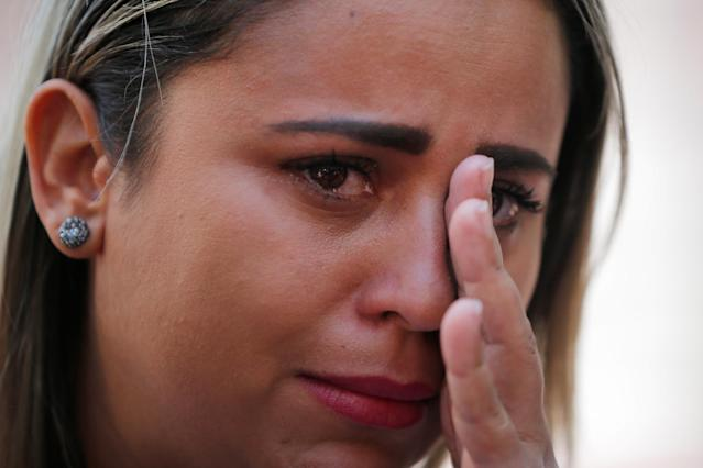 "<p>Sirley Paixao, whose ten-year-old son Diego was separated from her by U.S. immigration officials on May 24, 2018, cries while talking to reporters before the ""Families Belong Together"" rally in Boston, Mass., June 30, 2018 (Photo: Brian Snyder/Reuters) </p>"