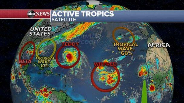PHOTO: Teddy will then rush off into the northern Atlantic, perhaps grazing parts of extreme Southeast Canada. The main impacts in the Northeast U.S. will be rough surf. (ABC News)