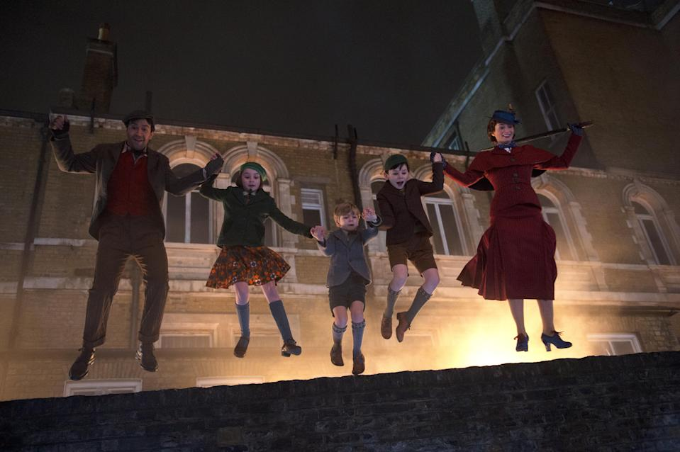 Jack (Lin-Manuel Miranda), Annabel (Pixie Davies), Georgie (Joel Dawson), John (Nathanael Saleh) and Mary Poppins (Emily Blunt) in Disney's original musical Mary Poppins Returns. (Disney)