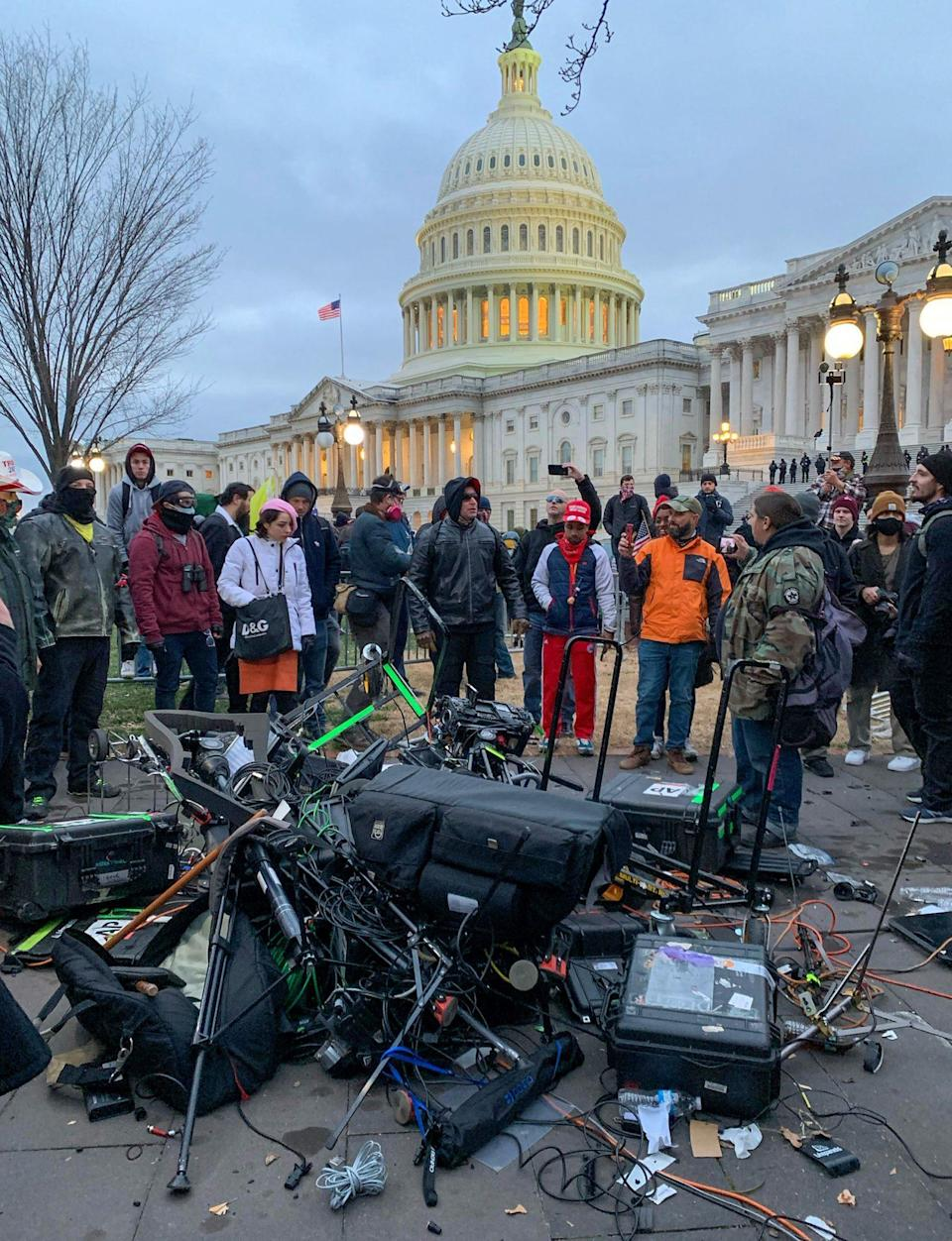 <p>Media equipment from the Associated Press was destroyed by Trump supporters outside the Capitol building. </p>