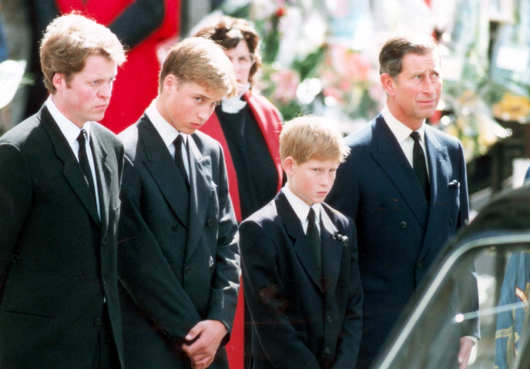 The brothers joined their dad Charles and uncle Earl Spencer at the funeral procession (Rex)
