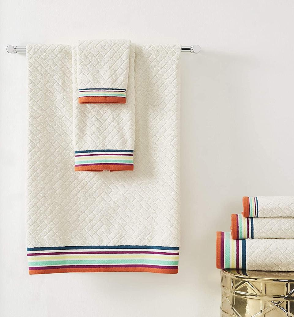 """<br><br><strong>Refinery29</strong> River Collection 100% Cotton Ultra Soft Bath Towel Set, $, available at <a href=""""https://www.amazon.com/Refinery29-Collection-Cotton-Absorbent-Brushstroke/dp/B0831C9HK1"""" rel=""""nofollow noopener"""" target=""""_blank"""" data-ylk=""""slk:Amazon"""" class=""""link rapid-noclick-resp"""">Amazon</a>"""