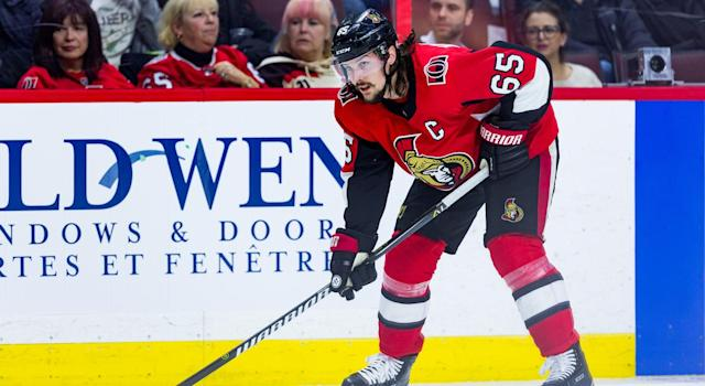 "<a class=""link rapid-noclick-resp"" href=""/nhl/players/4491/"" data-ylk=""slk:Erik Karlsson"">Erik Karlsson</a>'s situation looms large. (Getty)"