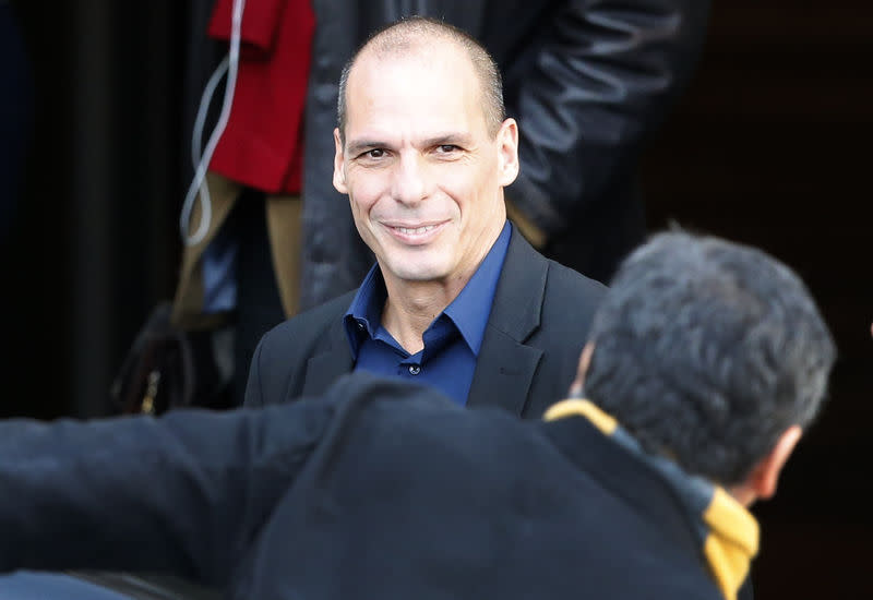 Greek Finance Minister Yanis Varoufakis arrives at the Finance Ministry in Berlin February 5, 2015, where he is meeting with German Finance Minister Wolfgang Schaeuble. REUTERS/Fabrizio Bensch