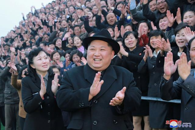 North Korean leader Kim Jong Un reacts as people applaud during his visit to the newly-remodeled Pyongyang Teacher Training College, in this photo released by North Korea's Korean Central News Agency (KCNA) in Pyongyang on January 17, 2018. KCNA/via REUTERS ATTENTION EDITORS - THIS PICTURE WAS PROVIDED BY A THIRD PARTY. REUTERS IS UNABLE TO INDEPENDENTLY VERIFY THE AUTHENTICITY, CONTENT, LOCATION OR DATE OF THIS IMAGE. NO THIRD PARTY SALES. SOUTH KOREA OUT.