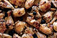 "Roasted with briny olives and chunks of pancetta, the garlicky meat stays moist in a shallow bath of white wine. <a href=""https://www.epicurious.com/recipes/food/views/roast-chicken-with-pancetta-and-olives-351176?mbid=synd_yahoo_rss"" rel=""nofollow noopener"" target=""_blank"" data-ylk=""slk:See recipe."" class=""link rapid-noclick-resp"">See recipe.</a>"