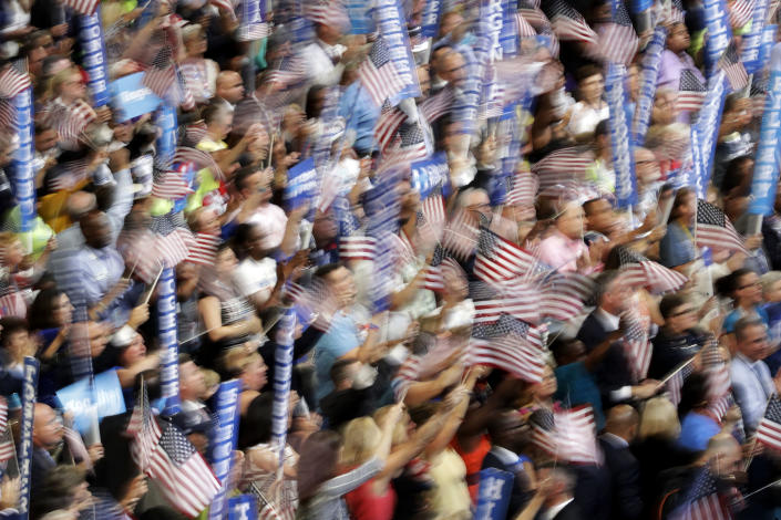 Supporters of Hillary Clinton at the Democratic National Convention, July 2016. (Photo: John Locher/AP)