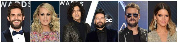 PHOTO: CMA nominees for Album of the Year, from left, Thomas Rhett for 'Center Point Road,' Carrie Underwood for 'Cry Pretty', Dan + Shay for their self-titled album, Eric Church for 'Desperate Man' and Maren Morris for 'GIRL.' (AP)