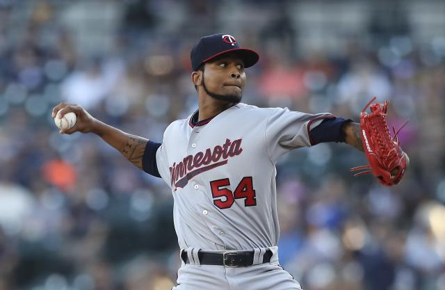 Minnesota Twins starting pitcher Ervin Santana throws during the first inning of a baseball game against the Detroit Tigers, Friday, Aug. 10, 2018, in Detroit. (AP Photo/Carlos Osorio)