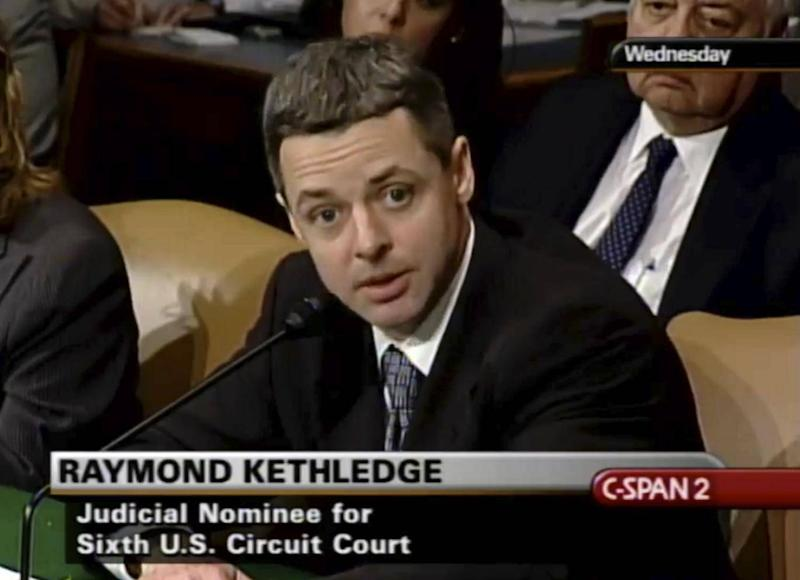 Raymond Kethledge testifies during his confirmation hearing for the Sixth US Circuit Court on Capitol Hill in Washington. (C-SPAN via AP)