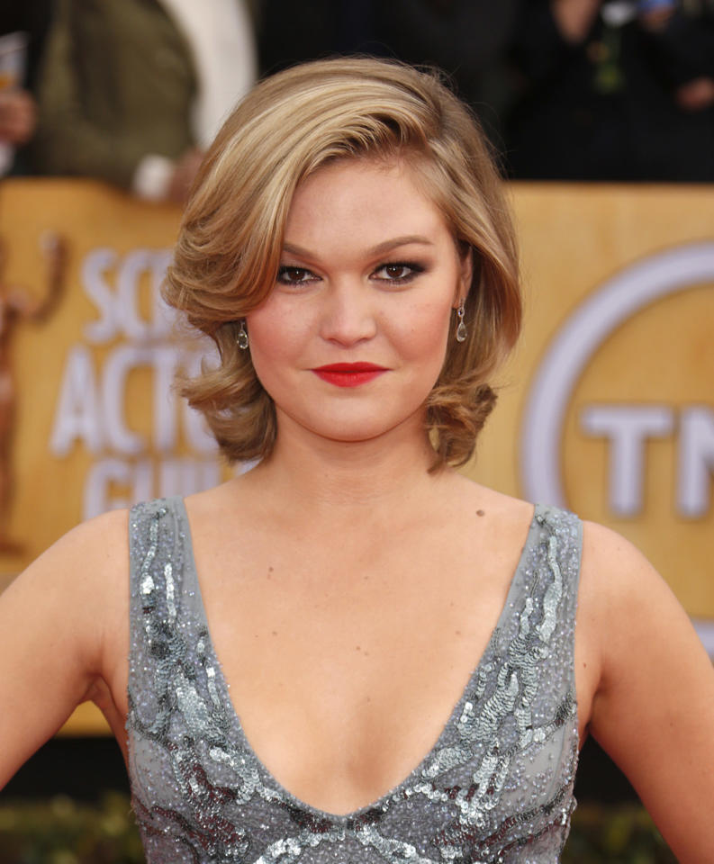 Julia Stiles arrives at the 19th Annual Screen Actors Guild Awards at the Shrine Auditorium in Los Angeles on Sunday Jan. 27, 2013. (Photo by Todd Williamson/Invision for The Hollywood Reporter/AP Images)