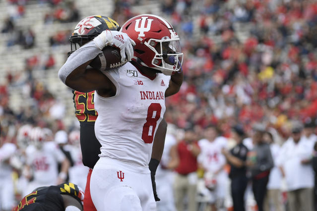 Indiana running back Stevie Scott III (8) celebrates his touchdown during the first half of an NCAA college football game against Maryland, Saturday, Oct. 19, 2019, in College Park, Md. (AP Photo/Nick Wass)