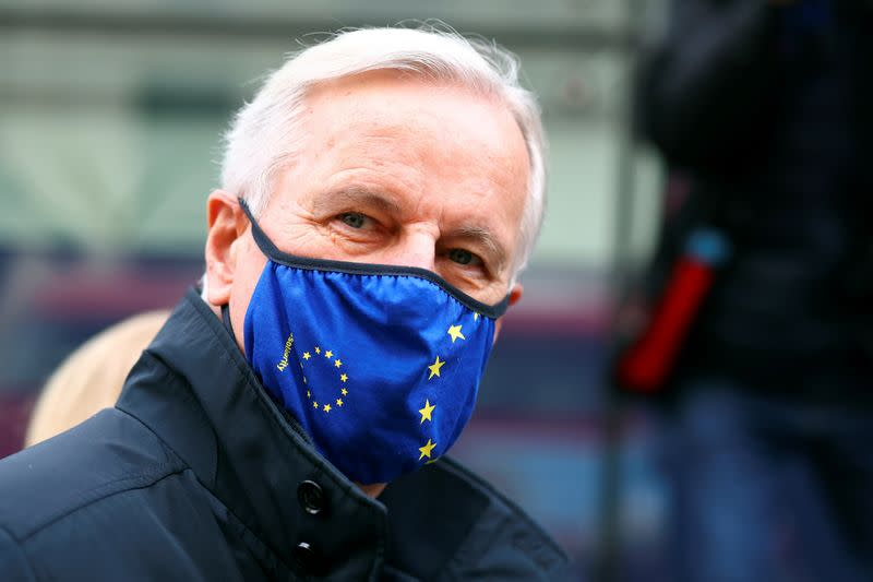 FILE PHOTO: European Union's Brexit negotiator Michel Barnier arrives at 1VS conference centre ahead of Brexit negotiations in London