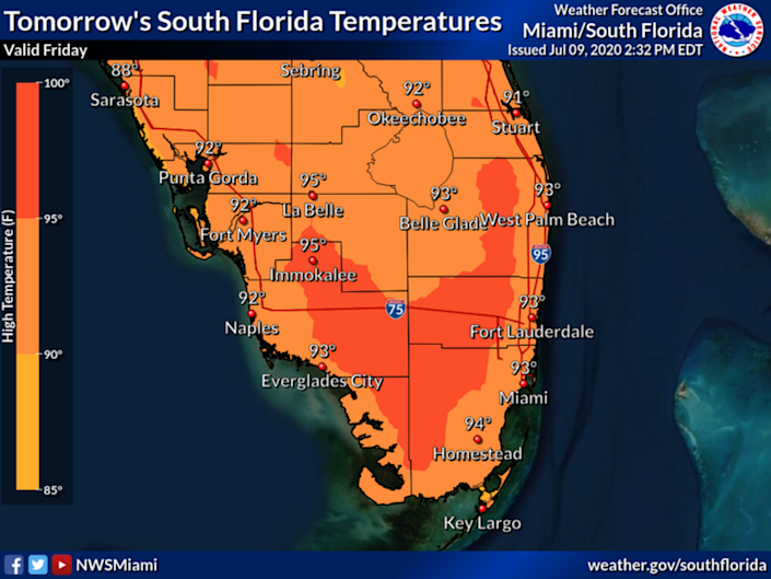 Friday, July 10, will see temperatures in the mid 90s, according to the National Weather Service. The weekend will also be hot, with heat indexes well into the double digits across South Florida.