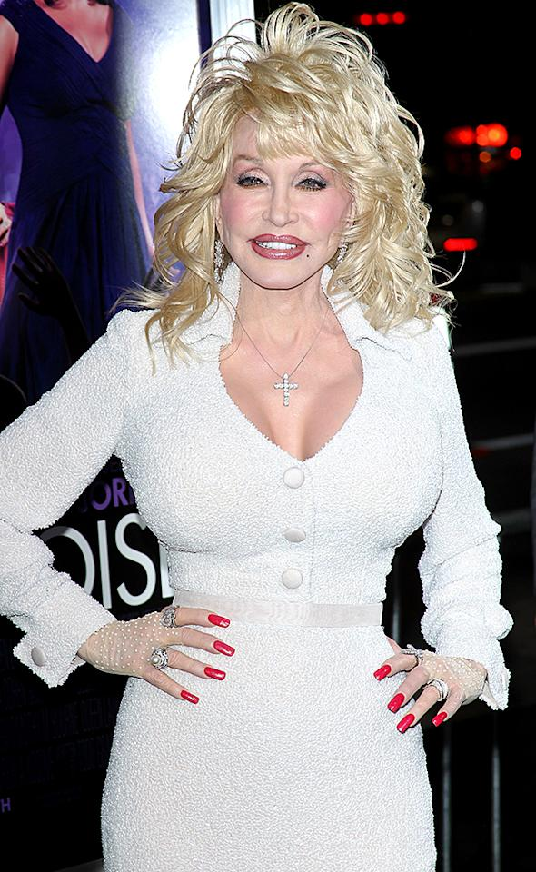 "HOLLYWOOD, CA - JANUARY 09:  Dolly Parton arrives at the Los Angeles premiere of ""Joyful Noise"" held at Grauman's Chinese Theatre on January 9, 2012 in Hollywood, California.  (Photo by Michael Tran/FilmMagic)"