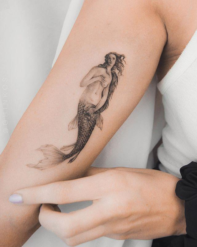 """<p>As a lover of both art and water, this Botticelli-inspired mermaid piece is <strong>worth the precious real estate on your body.</strong> TBH, if I was a Cancer, this would be my pick for a <a href=""""https://www.cosmopolitan.com/entertainment/celebs/a30692418/ariana-grande-butterfly-arm-tattoo-grammy-awards-pictures/"""" rel=""""nofollow noopener"""" target=""""_blank"""" data-ylk=""""slk:tattoo"""" class=""""link rapid-noclick-resp"""">tattoo</a>.</p><p><a href=""""https://www.instagram.com/p/B1eVzLpngbh/"""" rel=""""nofollow noopener"""" target=""""_blank"""" data-ylk=""""slk:See the original post on Instagram"""" class=""""link rapid-noclick-resp"""">See the original post on Instagram</a></p>"""