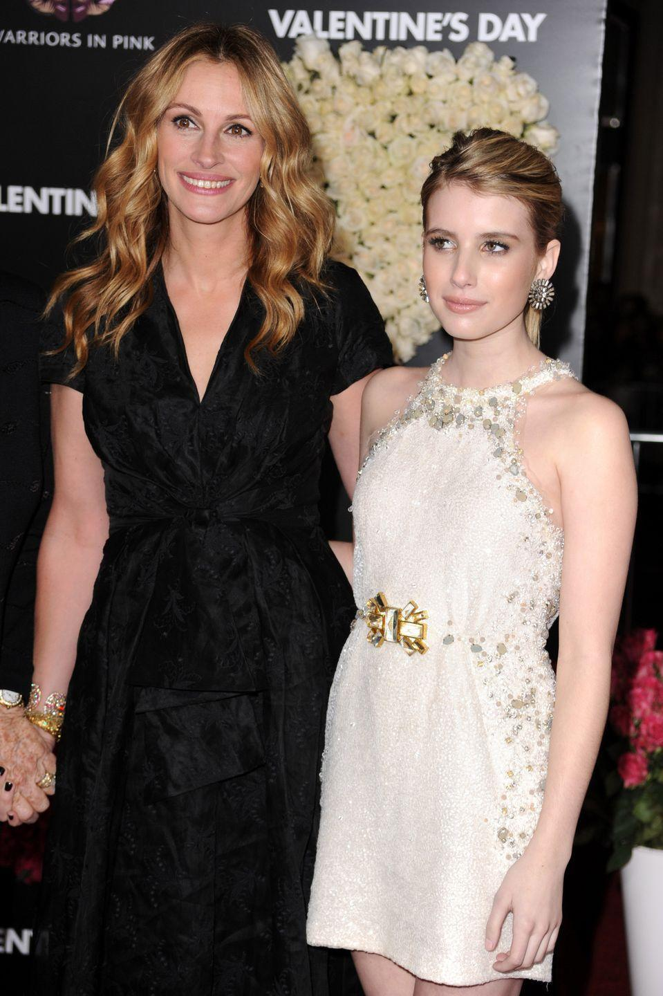 """<p>During her childhood, Emma Roberts spent time on the set of her Aunt's films, which inspired her to start acting herself.</p><p>The pair are very close and regularly feature on each other's Instagram accounts.</p><p><strong>Cosmopolitan UK's June issue is on sale now - </strong><a href=""""https://slack-redir.net/link?url=https%3A%2F%2Fmagsdirect.co.uk%2F%3Fs%3Dcosmopolitan%26post_type%3Dproduct"""" rel=""""nofollow noopener"""" target=""""_blank"""" data-ylk=""""slk:buy it online"""" class=""""link rapid-noclick-resp""""><strong>buy it online</strong></a><strong> with FREE next day delivery or </strong><a href=""""https://slack-redir.net/link?url=https%3A%2F%2Fwww.hearstmagazines.co.uk%2Fco%2Fcosmopolitan-magazine-subscription-website"""" rel=""""nofollow noopener"""" target=""""_blank"""" data-ylk=""""slk:subscribe here"""" class=""""link rapid-noclick-resp""""><strong>subscribe here</strong></a><strong> to get 6 issues for just £6!</strong><strong>Like this article?</strong></p><p><strong> <a href=""""https://hearst.emsecure.net/optiext/optiextension.dll?ID=nPTl681bgeiKhoMTpW31pzPluR1KbK8iYdv56%2BzY5rdcCoNqPYqUsTx_%2BXEjZKPdzGeMe03lZk%2B1nA"""" rel=""""nofollow noopener"""" target=""""_blank"""" data-ylk=""""slk:Sign up to our newsletter"""" class=""""link rapid-noclick-resp"""">Sign up to our newsletter</a> to get more articles like this delivered straight to your inbox.</strong></p>"""