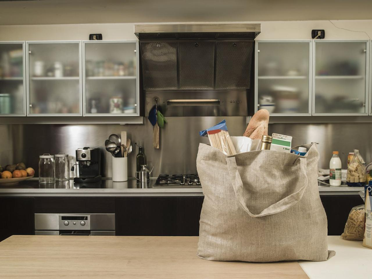 <p>Cut down on plastic by switching to reusable tote bags when doing any kind of shopping. Not only are they better for the environment, but they're more durable and often hold a lot more items than plastic bags.      </p>