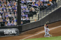 Washington Nationals' Trea Turner (7) catches a ball hit by New York Mets' Andres Gimenez for an out during the ninth inning of a baseball game Tuesday, Aug. 11, 2020, in New York. The Nationals won 2-1. (AP Photo/Frank Franklin II)
